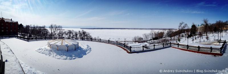 Панорама замерзшего Амура
