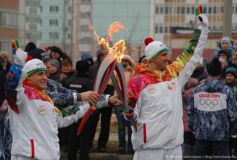 Эстафета олимпийского огня в Хабаровске