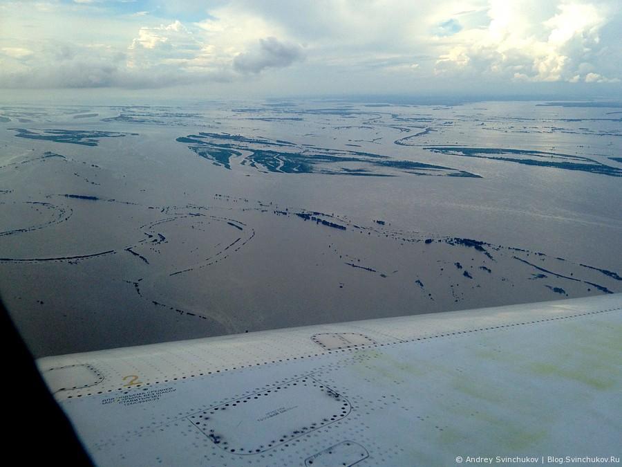 Комсомольск-на-Амуре с высоты и в наводнение 2013-го года