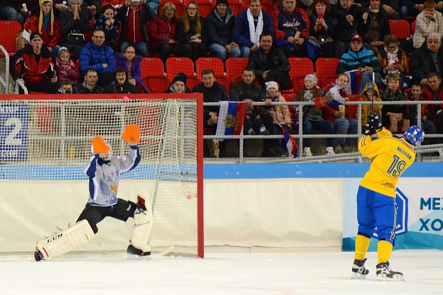 """XXXV Чемпионата мира по хоккею с мячом, что завершился на прошлой неделе в Хабаровске, зрители могли увидеть послематчевые пенальти. Я, как обещал, выкладываю фотографии с этого момента в игре """"Россия - Швеция"""""""